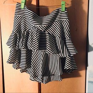 Express High Waisted Striped Mini Skirt